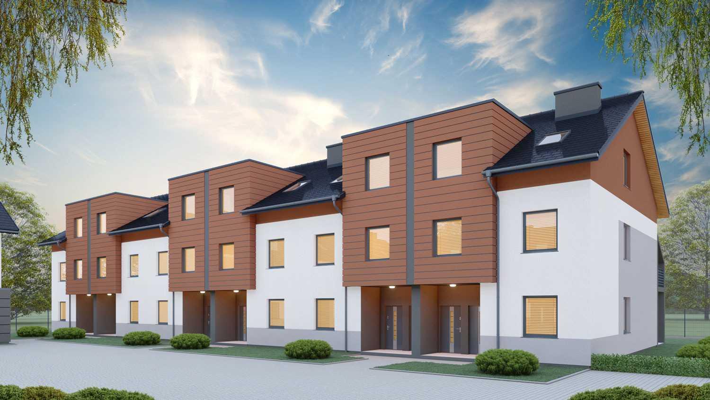 Wizualizacja osiedla budynków mieszkalnych w Zielonej Górze przy ul. Królewny Śnieżki dla Fatto deweloper