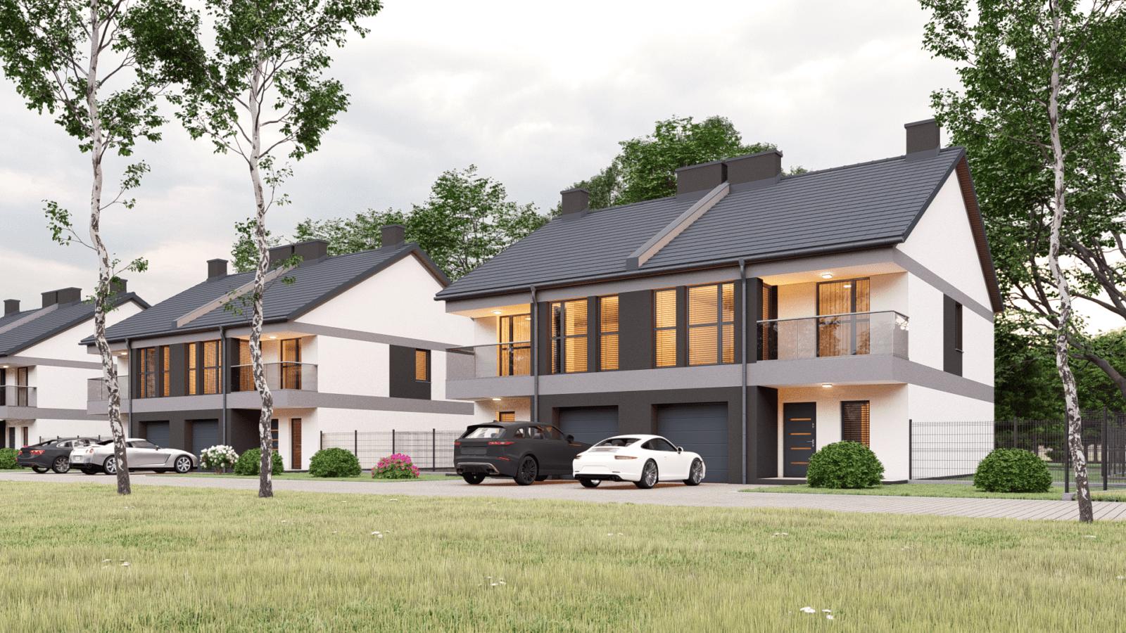 Wizualizacja osiedla budynków dla firmy PromeBud